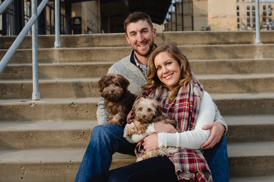 Engagement Pictures in Pittsburgh with Two Dogs