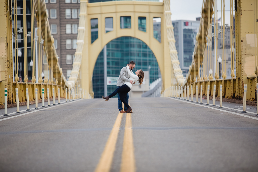 Iconic Photo of Couple on Pittsburgh's Yellow Bridge