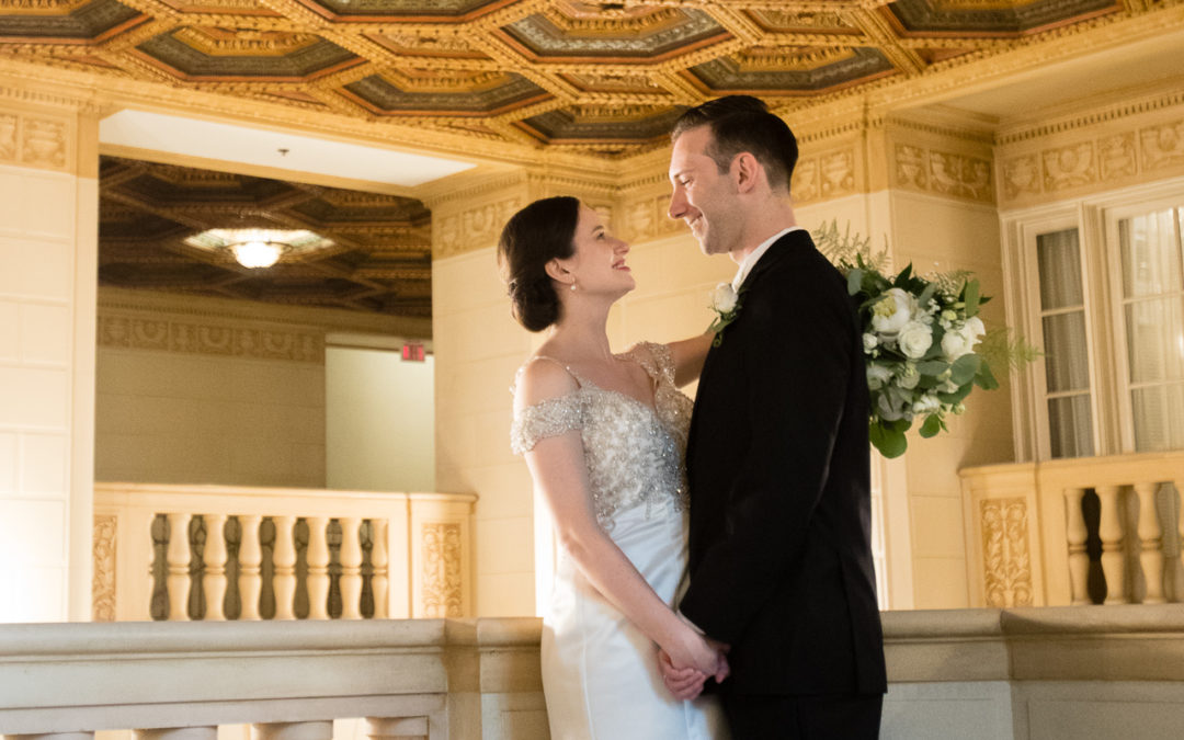 Bride and Groom Portrait at Omni William Penn Mezzanine