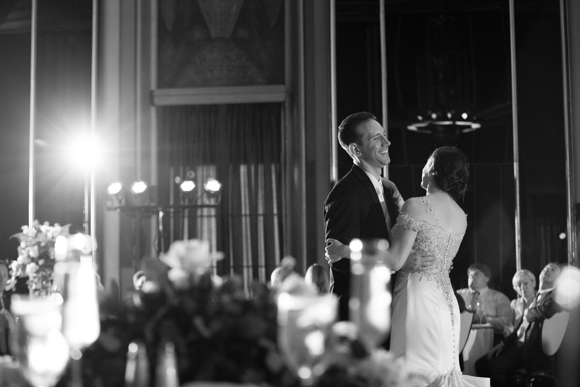 Bride and groom first dance at Omni William Penn Urban Room Pittsburgh