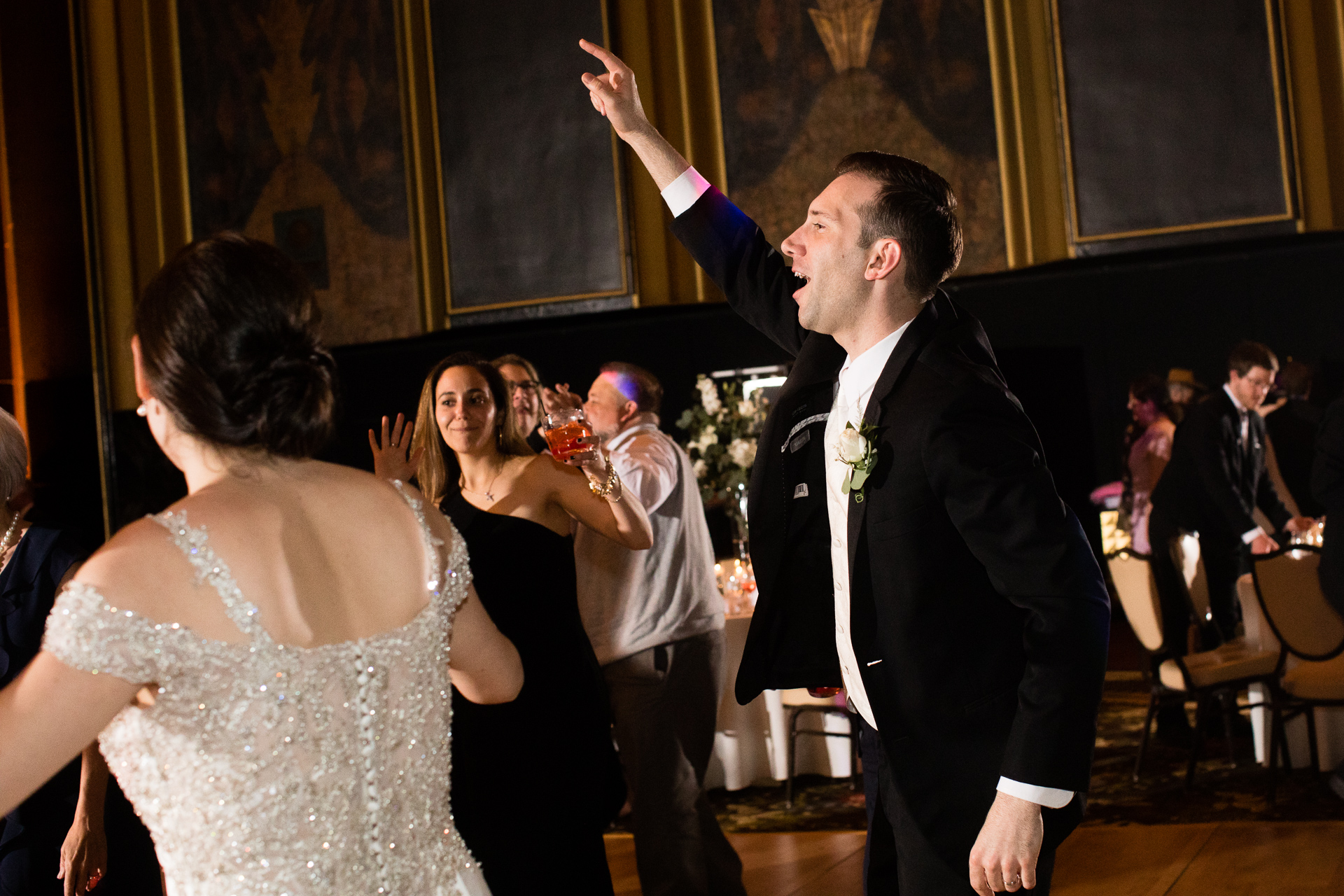 Bride and groom dancing at Omni William Penn Urban Room