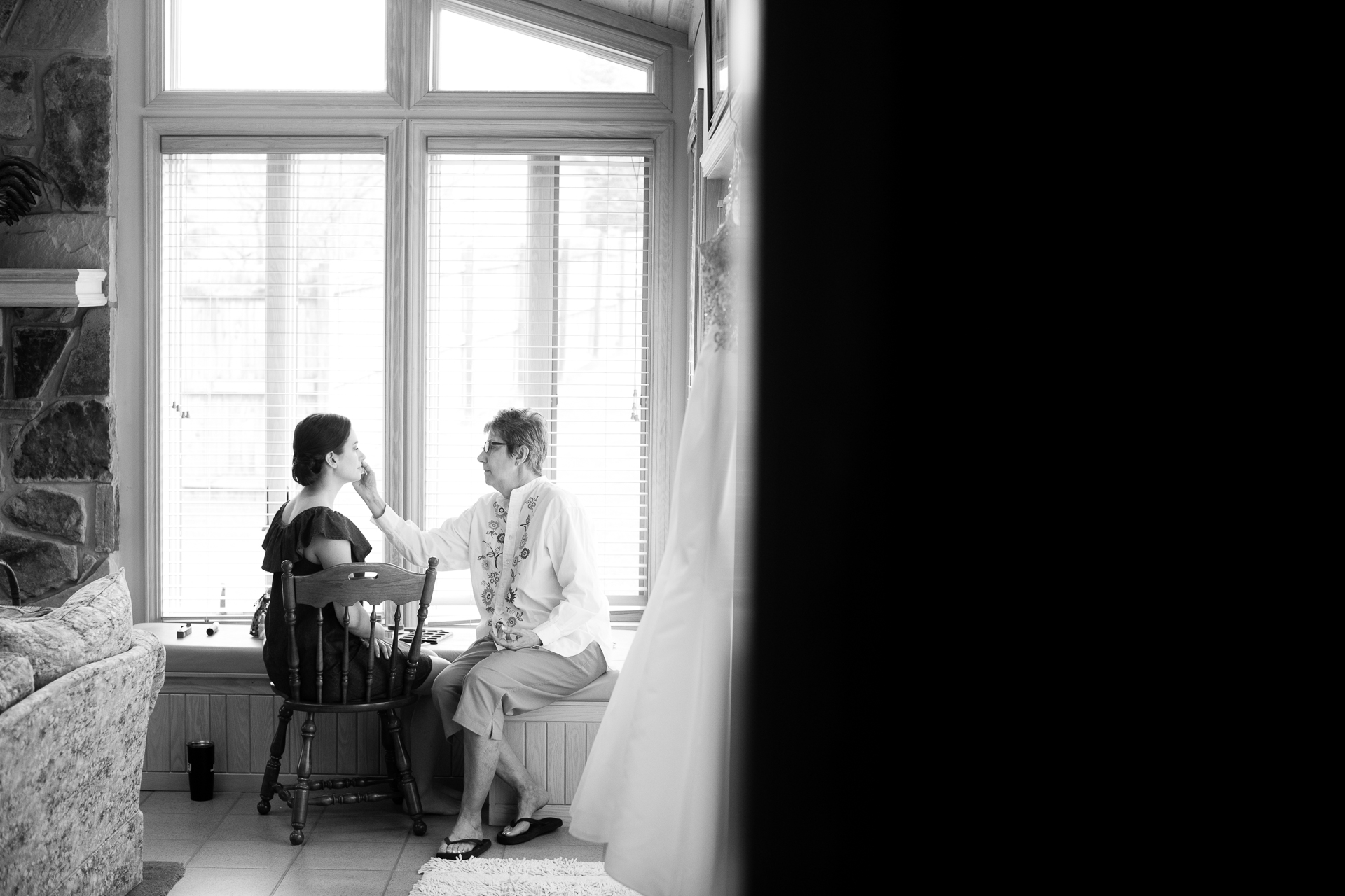 Bride and her aunt getting ready before the wedding