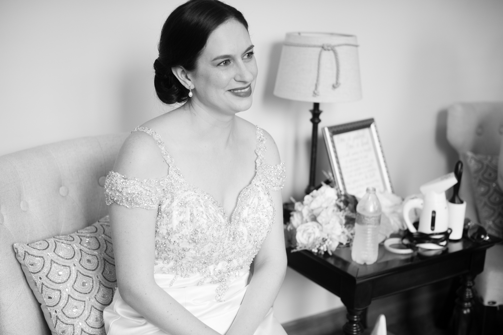 Bride before her wedding ceremony