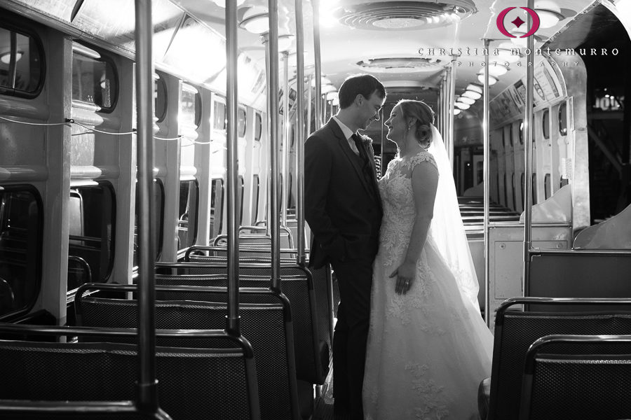 Bride and Groom in Trolley at Heinz History Center