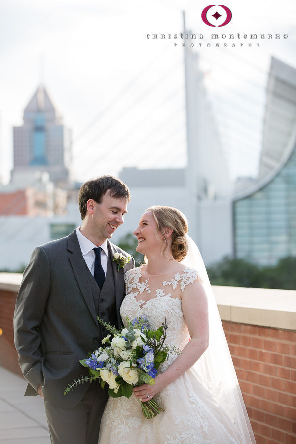 Bride and Groom on Balcony at Heinz History Center