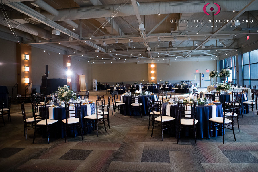 Empty Ballroom with Navy Linens, Dark Brown Chiavari Chairs and Bistro Lights at Heinz History Center