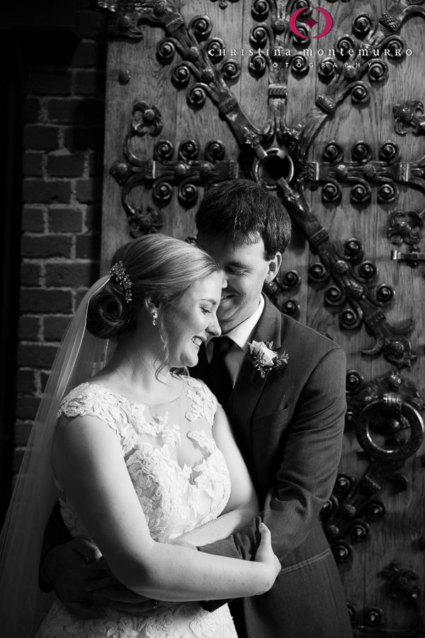 Bride and Groom in front of Antique Iron Door at Heinz History Center