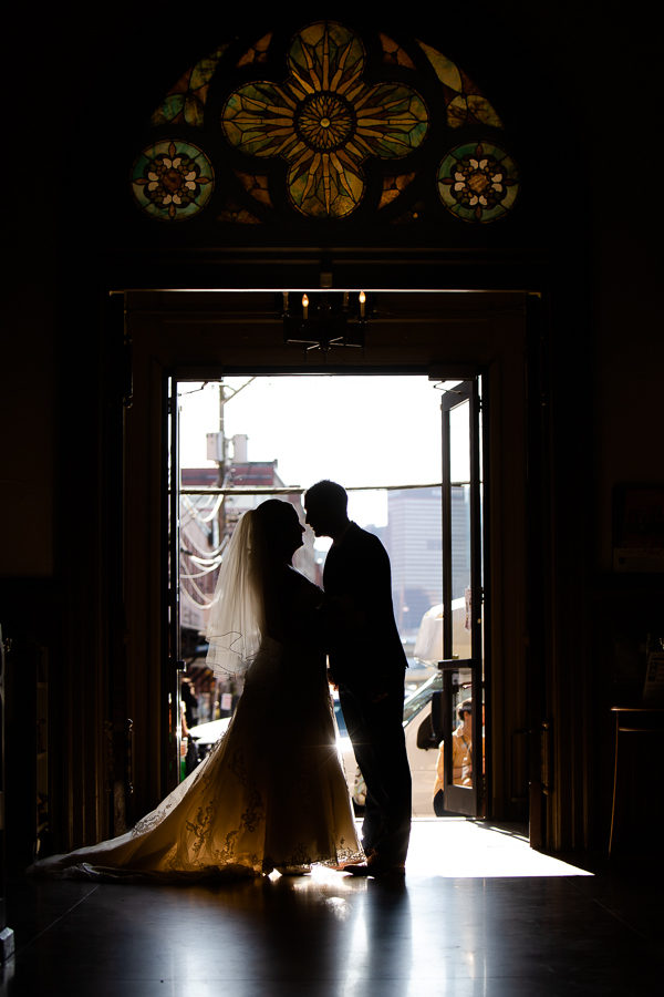Bride and Groom Silhouette at St. Stanislaus Kostka