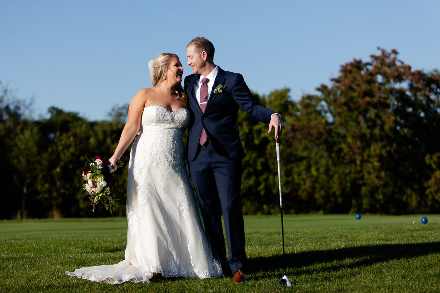 Bride and Groom with Golf Club