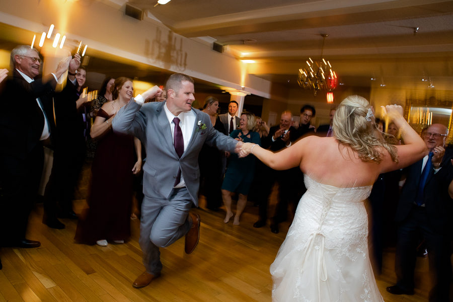 Bride and Groomsman Dancing at Shannopin Country Club