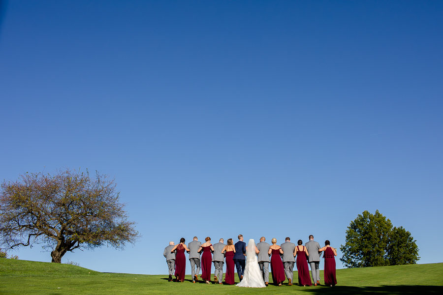 Bridal Party with Big Blue Sky at Shannopin Country Club