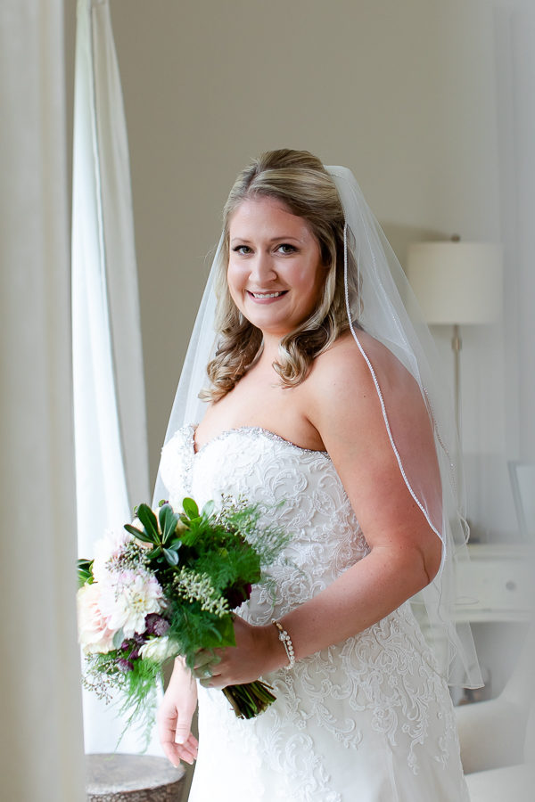 Bride in Strapless Dress Before Wedding