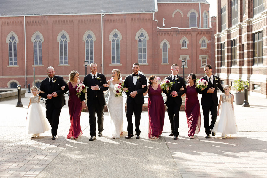 Bridal Party Walking Fall Wedding Cranberry Bridesmaid Dresses