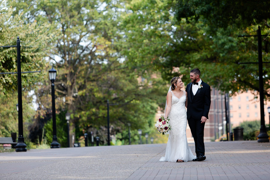 Bride and Groom on Academic Walk at Duquesne University