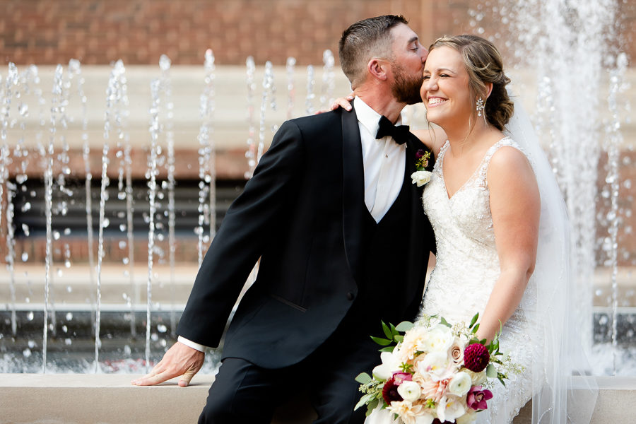 Bride and Groom by Fountain at Duquesne University