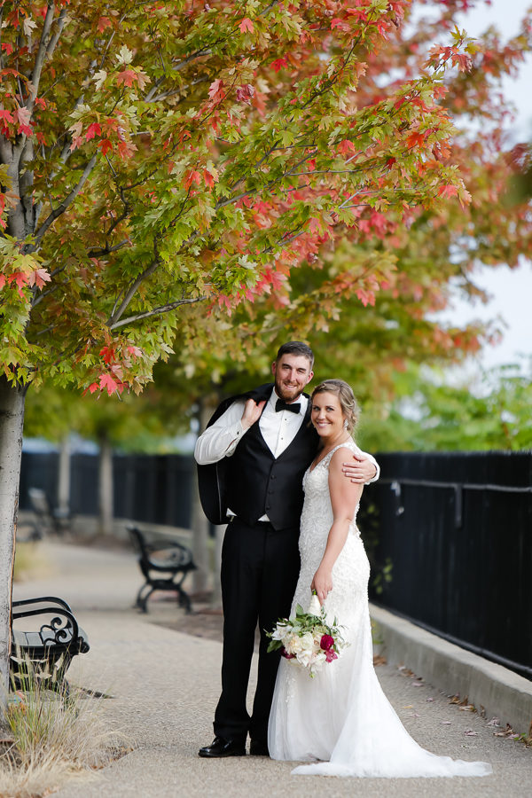 Bride and Groom with Fall Foliage at Duquesne University Wedding