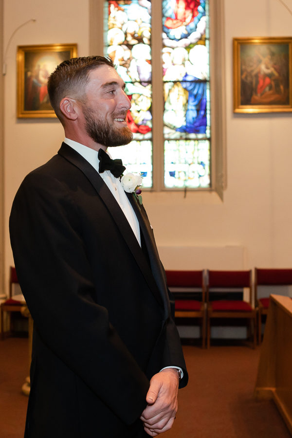 Groom waiting for his bride at Duquesne University Wedding