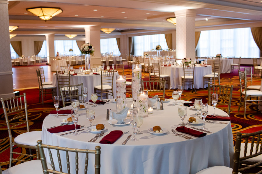 Marriott City Center Grand Ballroom White Linens Burgundy Napkins