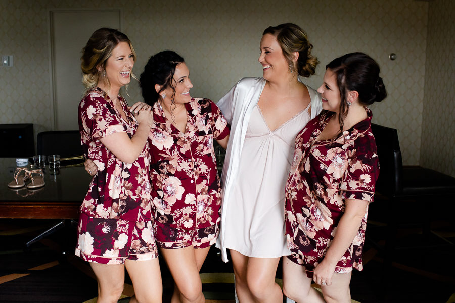 Bride and Bridesmaids in floral pajamas