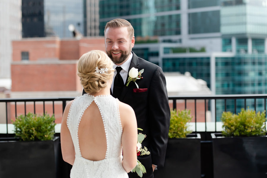 Bride and Groom on Balcony at Renaissance Pittsburgh Hotel