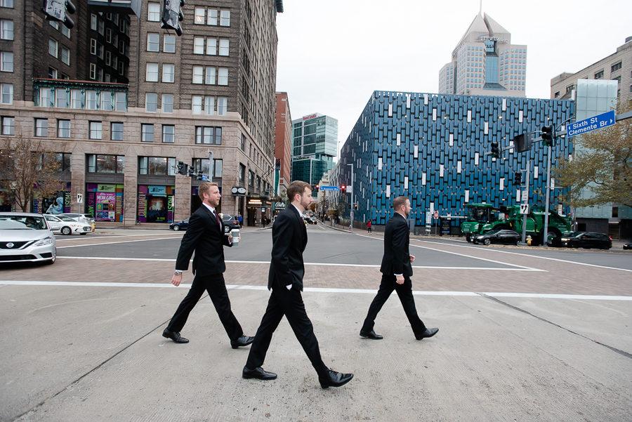 Synchronized Groomsmen Walking