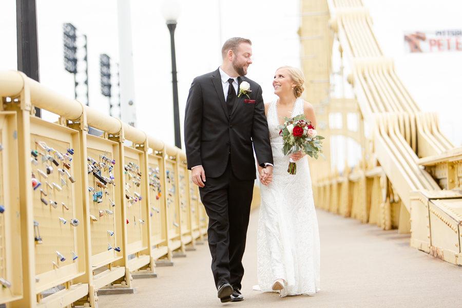 Bride and Groom on Roberto Clemente Bridge Pittsburgh