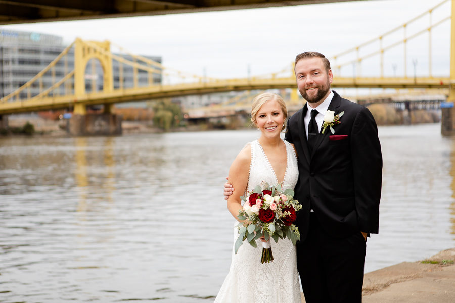 Bride and Groom Portrait at Pittsburgh Riverfront