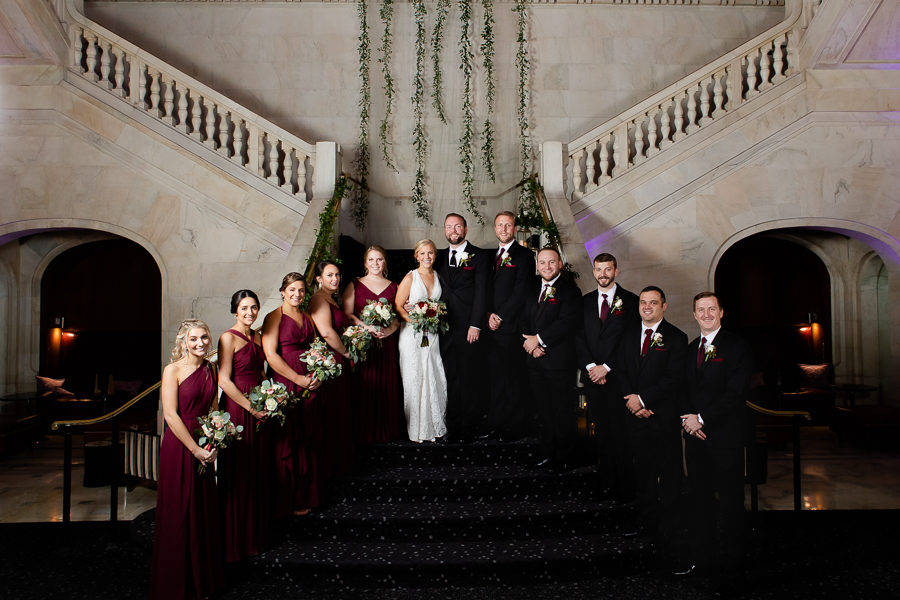 Bridal Party Portrait in Renaissance Pittsburgh Hotel Lobby Grand Staircase