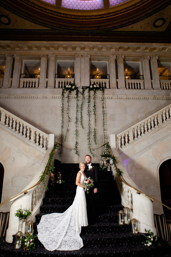 Bride and Groom Portrait in Renaissance Pittsburgh Hotel Lobby Grand Staircase