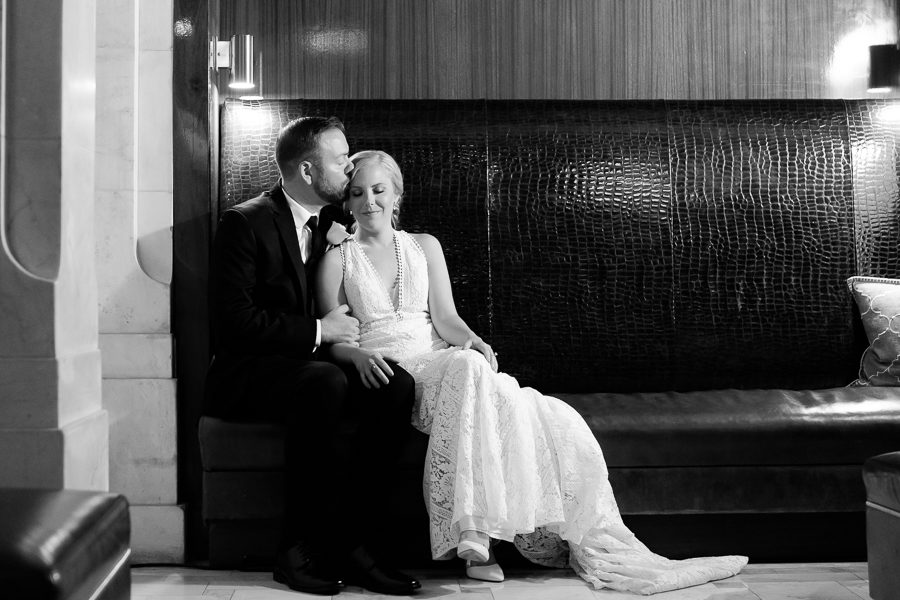 Bride and Groom Portrait in Renaissance Pittsburgh Hotel Lobby